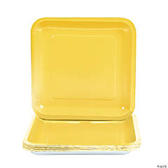 Yellow Square Paper Dinner Plates