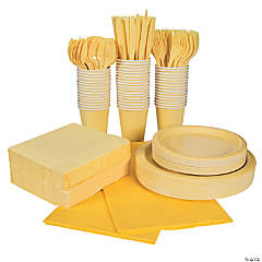 Yellow Tableware Party Pack for 48