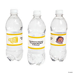 Yellow Team Spirit Custom Photo Water Bottle Labels