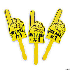 Yellow We're #1 Finger Hand Fans