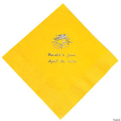 Yellow Wedding Personalized Napkin with Silver Foil - Luncheon