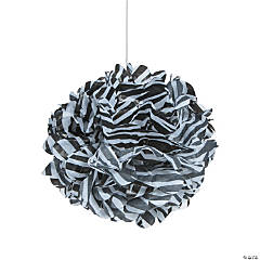 Zebra Print Tissue Pom-Pom Decorations with Grommet