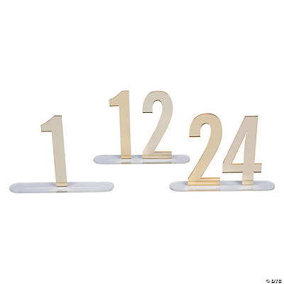 1 - 24 Gold Mirror Table Numbers