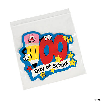100th Day of School Resealable Treat Bags