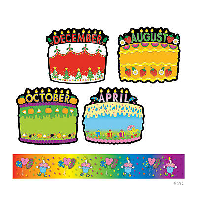 18 Pc Birthday Cakes Bulletin Board Decorations with Border