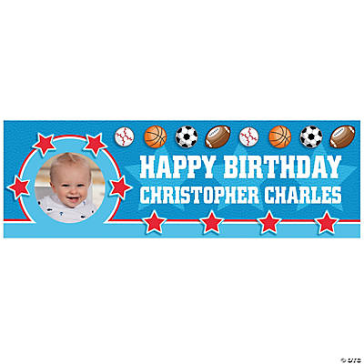 1st Birthday All Star Custom Photo Banners