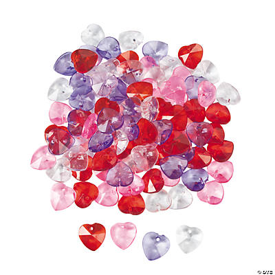 Acrylic Faceted Crystal Hearts - 12mm