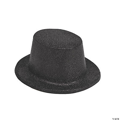 Adult Black Glittery Top Hats