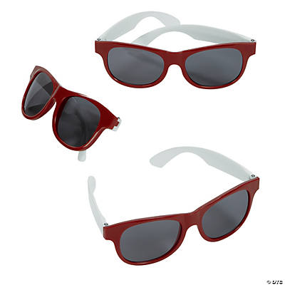 Adult's Burgundy & White Two-Tone Sunglasses
