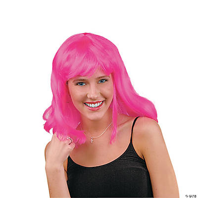 Adult's Neon Pink Pageboy Wig