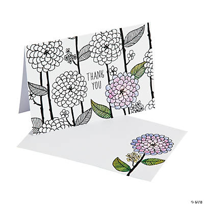 American Craftsu0026#8482; Adult Coloring Flowers And Stems Thank You Cards