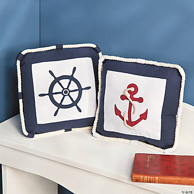 Anchor & Wheel Nautical Throw Pillows