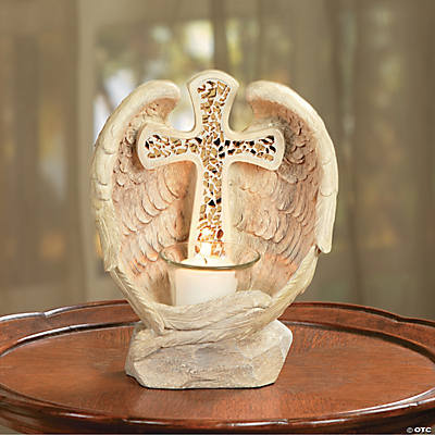Angel Wings Candleholder with Mosaic Cross
