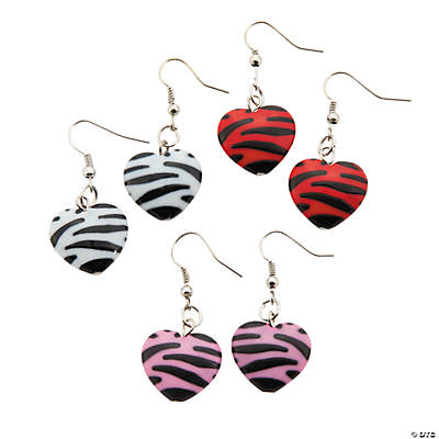 Animal Print Puff Heart Earrings