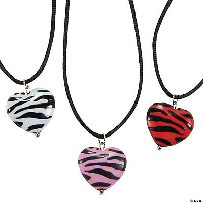 Animal Puff Heart Pendant Necklaces