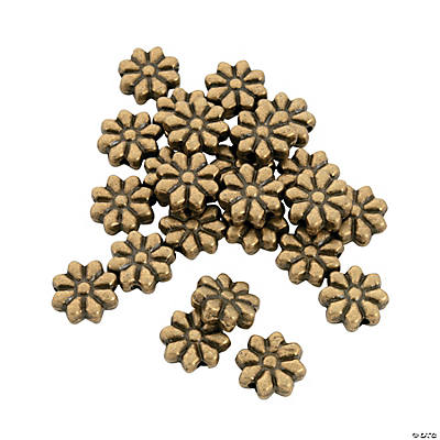Antique Gold Flower Beads - 10mm