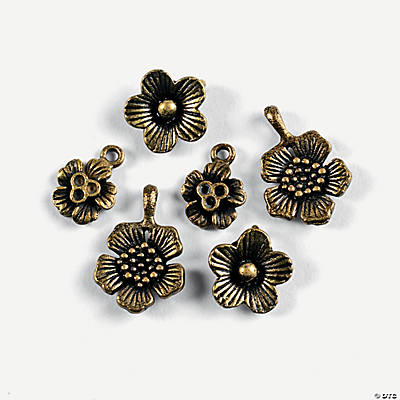 Antique Goldtone Flower Charms