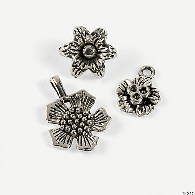 Antique Silvertone Flower Charms