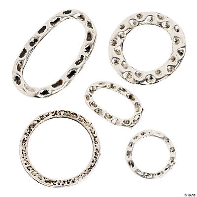 Antique Silvertone Hammered Ring Assortment
