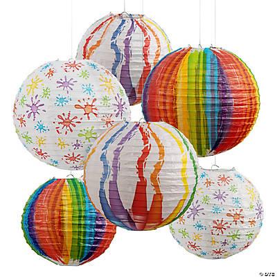 Art palette hanging paper lanterns - Paper lantern paint color ...