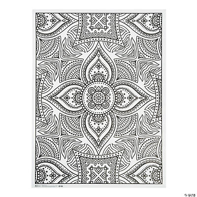 ArtZone™ Adult Coloring Poster - Henna - Oriental Trading ...