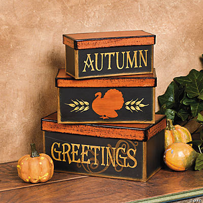 """Autumn Greetings"" Stacking Boxes"