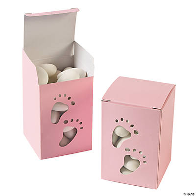 Baby Girl Footprint Pink Favor Boxes