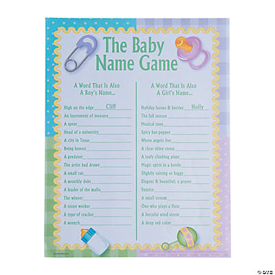 Superior Baby Names Baby Shower Game