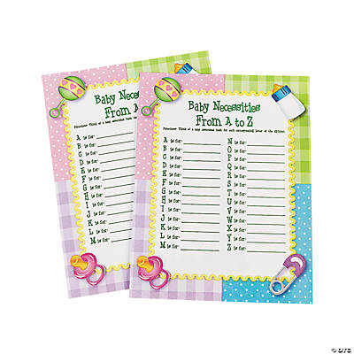 """Baby Necessities From A To Z"" Baby Shower Game"