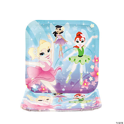 Ballerina Fairies Square Dinner Plates