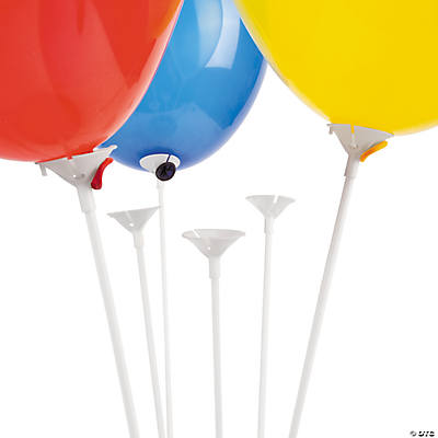 Balloon Sticks with Cup - White - Plastic (144pc)