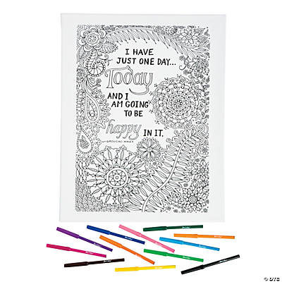 Be Happy Coloring Canvas Kit