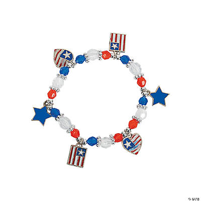 Beaded Patriotic Charm Bracelet Craft Kit