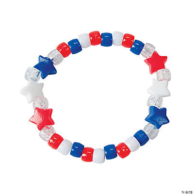 Beaded Red, White & Blue Star Bracelet Craft Kit