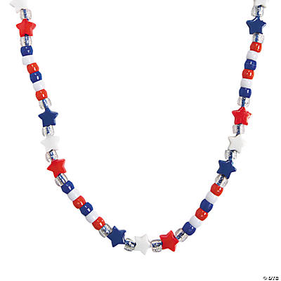 Beaded Red, White & Blue Star Necklace Craft Kit