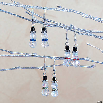 Beaded Snowman Earrings