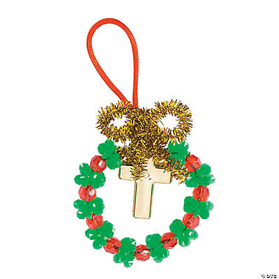 Beaded Wreath with Cross Ornament Craft Kit
