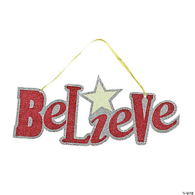 """Believe"" Glitter Door Hanger"
