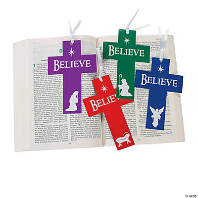 """Believe"" Nativity Cross-Shaped Die Cut Bookmarks"