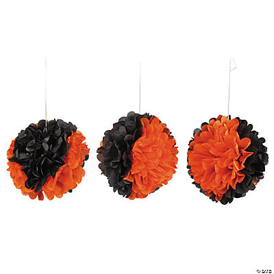 Black & Orange Pom-Pom Halloween Decorations