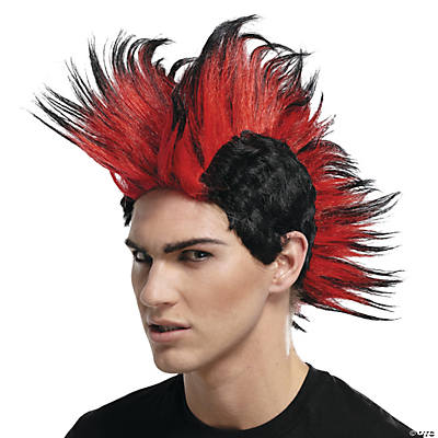 Black & Red Double Mohawk Wig