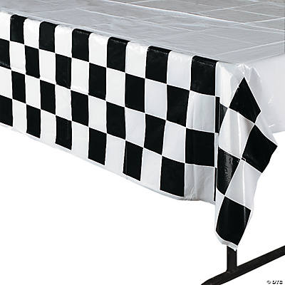 Marvelous Black U0026 White Checkered Plastic Tablecloth