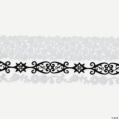 Black & White Floral Felt Ribbons