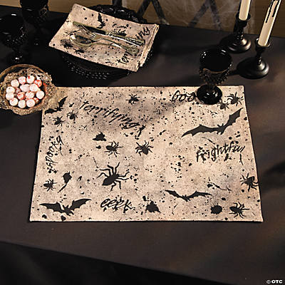 Black & White Halloween Place Mats - Set of 4