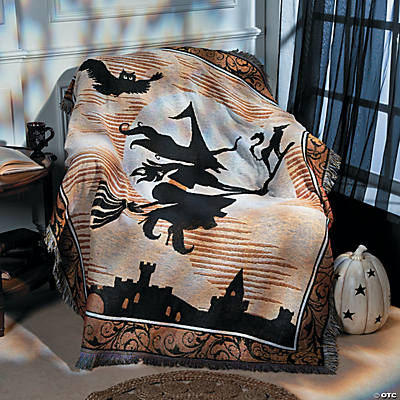 Black & White Halloween Silhouette Throw