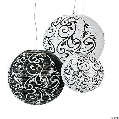Black white hanging paper lanterns - White hanging paper lanterns ...