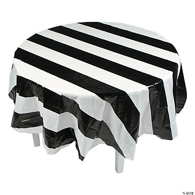 Black White Stripe Round Plastic Tablecloth