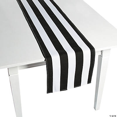 Black White Striped Table Runners