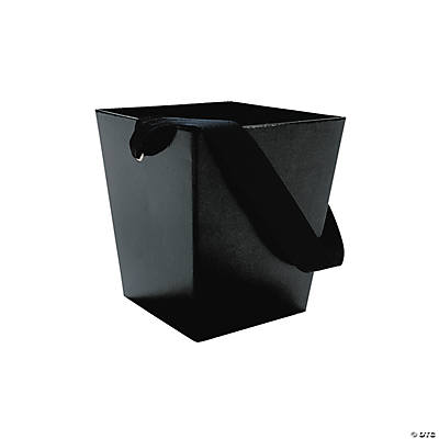 Black Buckets with Ribbon Handle