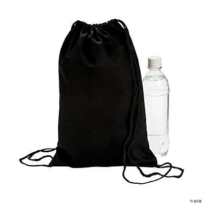 Black Canvas Drawstring Backpacks - Oriental Trading